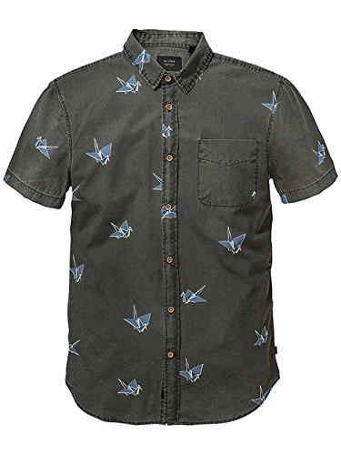Herren Hemd kurz Globe Paper Cranes Hemd Vintage Black