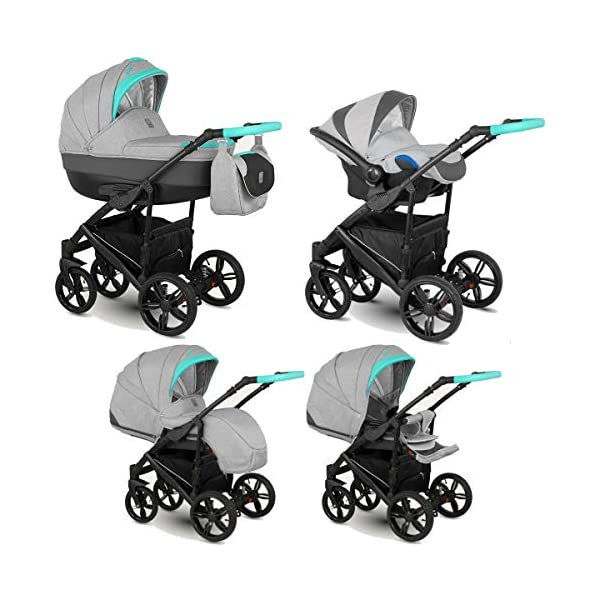 Lux4Kids Stroller Pram 2in1 3in1 Isofix Car seat 12 Colours Free Accessories Leo Anthracite Gold BA-10 4in1 car seat +Isofix Lux4Kids Lux4Kids Leo 3in1 or 2in1 pushchair. You have the choice whether you need a car seat (baby seat certified according to ECE R 44/04 or not). Of course the car is robust, safe and durable Certificate EN 1888:2004, you can also choose our Zoe with Isofix. The baby bath has not only ventilation windows for the summer but also a weather footmuff and a lockable rocker function. The push handle adapts to your size and not vice versa, the entire frame is made of a special aluminium alloy with a patented folding mechanism. 2