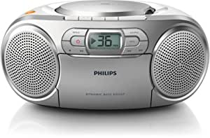 Philips AZ127/05 Silver/white Portable CD/Cassette Player with FM Radio and Dynamic Bass Boost