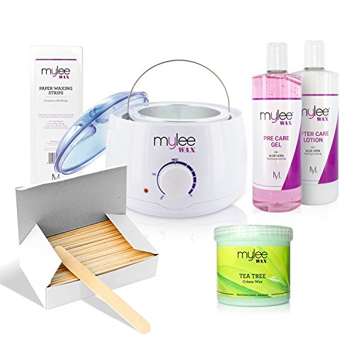 Price comparison product image Mylee Complete Waxing Kit, Includes Salon Quality Wax Heater, Soft Cream Wax, Waxing Strips, Spatulas and Mylee Pre & After Care Lotion