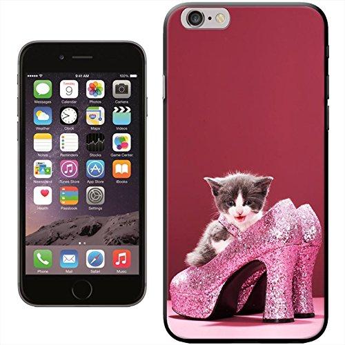 Fancy A Snuggle 'Süßer schwarz Katze bereit für Weihnachten Wearing Santa Hat' Hard Case Clip On Back Cover für Apple iPhone 5C Kitten In Glittering Pink Heels