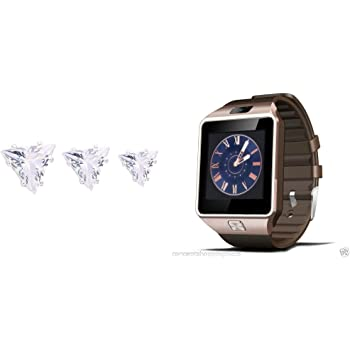 Rose Gold DZ09 Bluetooth Smart Watch Phone Camera SIM Card Fr Android IOS Phones and Fitness tracker FREE Earrings for your loved ones