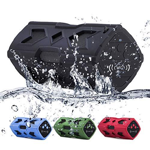 JINRU Bluetooth Lautsprecher Wasserdichte Tragbare Lautsprecher, Verbesserte Bass, Staubdicht, Stoßfest, Eingebautes Mikrofon, NFC-Unterstützung, 8 Stunden Spielen, Für Party, Pool, Camping,Black
