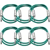 "Seismic Audio New 6 Pack Green 1/4"" TRS 3' Patch Cables Green - SATRX-3Green6"