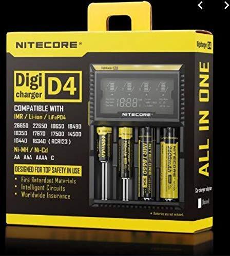 Nitecore D2EU - Universalladegerät für Li-Ion, Ni-MH, Ni-CD und LiFePO4 Akkus, LCD Display