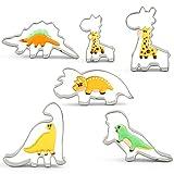 KENIAO Dinosaurier Ausstechformen Keksausstecher für Kinder - 6 Teilig - Stegosaurus, Camarasaurus, Tyrannosaurus Rex, Triceratops, Kleine Giraffe und Große Giraffe - Rostfreier Stahl