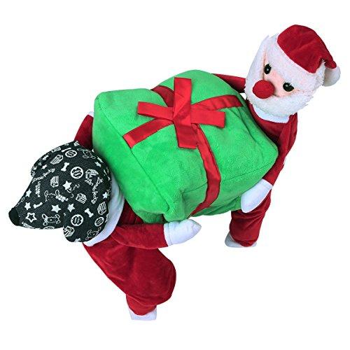 YiZYiF Hund tragen Geschenkbox Santa Claus Weihnachten Kostüm Komische Hunde Kleidung Hustier Katze Cosplay Kostüm für Halloween Karneval Party Rot + Grün (Kostüm Geschenkbox)