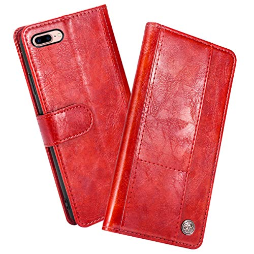 Doveno Funda Compatible con iPhone 7 Plus iPhone 8 Plus Caratula de Cartera, Funda Compatible con iPhone 7 Plus iPhone 8 Plus Flip Case, Classy Slim Leather Wallet, ID Credit Card Slot