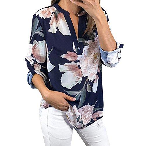 Oliviavan,Frauen Damen Blumendruck Halbe Hülse T-Shirt unregelmäßige Tops Bluse Bluse Mode Damenmode Tops Shirt Damen Chiffon Langarm Casual Pullover T-Shirts Mantel Damen Kleider Jacke büro Outfit