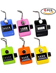 Manual Digit Tally Counter Mechanical Hand-held Assorted Color Plastic Clicker (6 Packs)