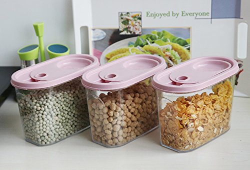 Kurtzy Cereal Rice Pasta Grains Dispenser Jar Container Storage Box Lid Kitchen Set of 3 Multicolor 1900ml Pink