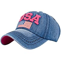 Gorras de beisbol ❤️Amlaiworld Hombre mujer Gorra de béisbol USA Rhinestone Denim Viseras Gorra de golf Sombrero plano de hip hop Snapback Niños niñas (Rosa caliente)