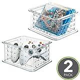 mDesign 2er-Set Stapelbare Aufbewahrungsbox für DVDs, Videospiele usw - Klein, Durchsichtig