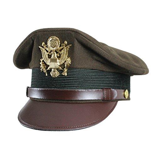 US Armee Offiziere 2. Weltkrieg Peaked Crusher Style Visier Cap Service...