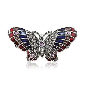 Marcassite, Améthyste &Émaillé 925 Sterling Silver Papillon Broche
