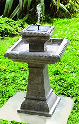 Small Solar Powered Water Feature Grey Resin Birdbath Water Fountain Pizzaro PC210