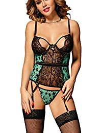 60b52ba4f6b marysgift Lace Bodysuit Teddy with Suspenders Plus Size Lingerie Set UK 6 8  10 12 14