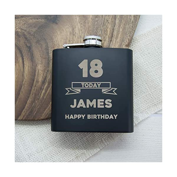 18th Happy Birthday Black Hip Flask – Personalised Hip Flasks/Personalised Gifts For Dad/Engraved Birthday Gifts For Men/Engraved Hip Flask For Men 51xP87DBccL