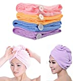 #5: KBF 2pcs Combo 21 * 51cm Absorbent Microfiber Towel Turban Hair-Drying Quick Dry Shower Caps Bathrobe Hat Hair Wraps for Women(Multi-Coloured)