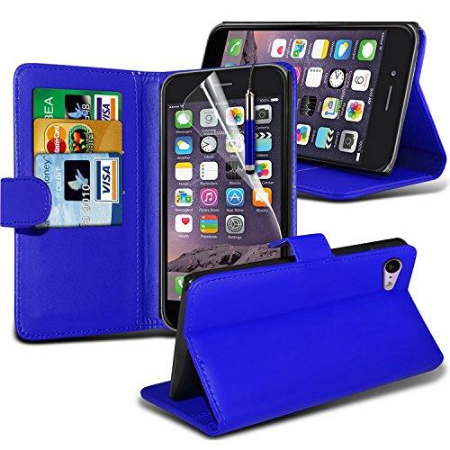 i-Tronixs High Quality Designed Premium-PU-Leder Geldbörse Book Flip Mit 3 Kredit / Bankkarte Slot-Kasten-Haut-Abdeckung mit LCD-Display Schutzfolie und Poliertuch für Apple Iphone 6 4.7 inch WFLIP Blue + Pen