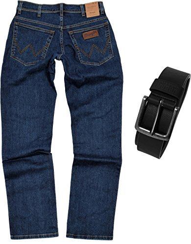 Wrangler TEXAS STRETCH Herren Jeans Regular Fit inkl. Gürtel (W38/L32, Darkstone)