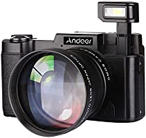 "Andoer CDR2 1080P 15FPS Fotocamera Digitale Full HD 24MP 3.0 "" LCD Schermo Rirevole Anti-shake 4X Zoom Digitale w / Obiettivo Grandangolare + Filtro UV Video DV Cam DSLR"