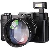 """Andoer CDR2 1080P 15 fps Full HD Appareil photo 24MP numérique 3.0 Écran """"Rotatif LCD Anti-shake 4X Zoom intégrée rétractable lampe vidéo DV Cam Recorder Camcorder w / grand-angle et UV Filter"""
