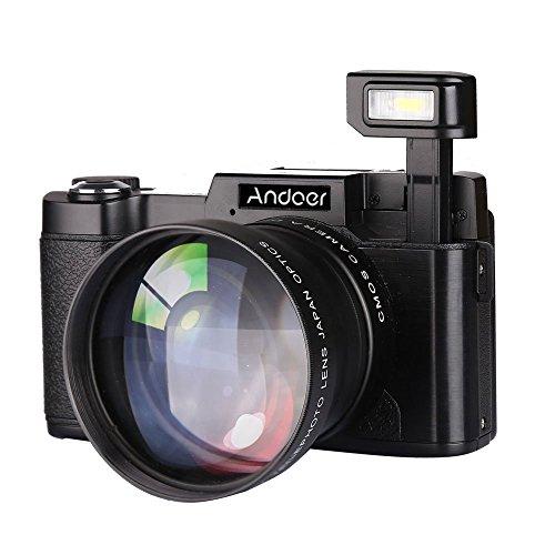 Andoer CDR2 1080P 15FPS Fotocamera Digitale Full HD 24MP 3.0 ' LCD Schermo Rirevole Anti-shake 4X Zoom Digitale w / Obiettivo Grandangolare + Filtro UV Video DV Cam DSLR