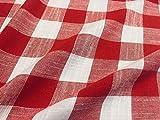 LushFabric Tessuto di Lino a Quadretti in Tessuto di Lino a Quadretti Bufalo Plaid - Sartoria, Tende, Arredamento per la casa - 140 cm di Larghezza, Rosso e Bianco, 2 m