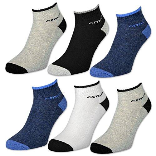 6 oder 12 Paar Sport Sneaker Socken Herrensocken mit Frotteesohle verstärkt - 16210 (Farbmix | 6 Paar 39-42)