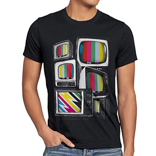 style3 Vintage Testbild Herren T-Shirt monitor retro fernseher tv, Größe:XXL;Farbe:Schwarz