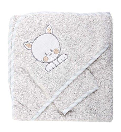 Sortie de bain souris brodé avec gant - bébé - blanc (gris)