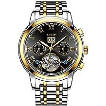 LIGE Hombre Relojes Resistente al Agua Negocios Fecha Reloje Hombres Acero Inoxidable Mecánico Automático Dorado Negro