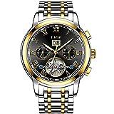 LIGE Hombre Relojes Resistente al Agua Negocios Fecha Reloje Hombres Acero Inoxidable Mecánico Automático Dorado Negro Reloj