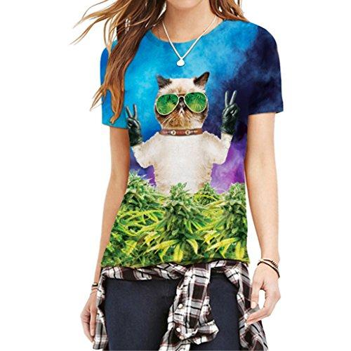 Fantástico Gato Usar Gafas De Sol Camisas Verdes Marihuana Camiseta De La Hoja De La Mujer M