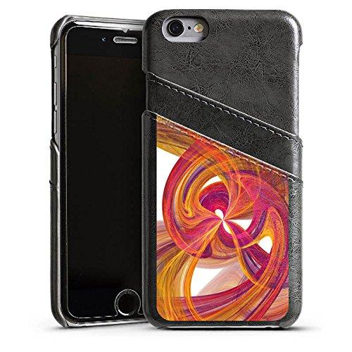 Apple iPhone 5s Housse Étui Protection Coque Spirale Peinture Abstrait Étui en cuir gris