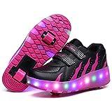 MNVOA Scarpe Roller per Bambini Unisex LED Light up Doppie Ruote Scarpe da Skateboard da Skateboard Scarpe da Skate Roller da Allenamento per Sport all'Aria Aperta per Ragazze,Rose,35EU