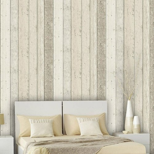 Reclaimed Wood Panel Effect Faux Wallpaper
