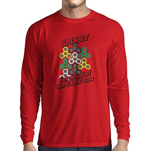Langarm Herren t shirts Für Fidget Spinner Spielzeug Enthusiasten - Stress Reducer Geschenk (XX-Large Rot Mehrfarben)