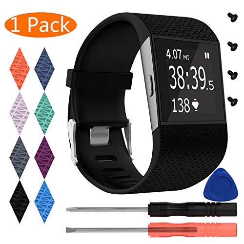 KingAcc Kompatibel Fitbit Surge Armband, Silikon Ersatz Armbänder Armband für Fitbit Surge, Sport Armbandarmband Uhrenarmband Damen Herren (1-Pack, Schwarz, Groß)