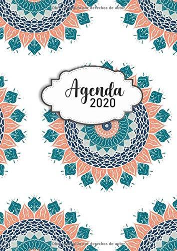 Agenda 2020: Tema Mandalas Agenda Mensual y Semanal + Organizador Diario I Planificador Semana Vista A4 Color Verde naranja