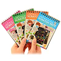 Scratch Art Paper Set,Cartoon Letters Patterned Rainbow Drawing Scratch Notepad Sketch Book for Adults Children Mural DIY