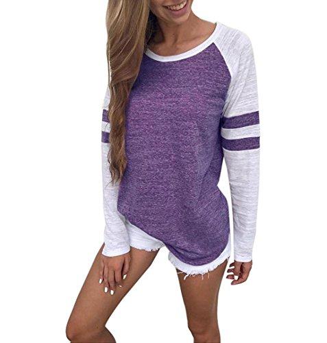 ZEZKT Damen Langarmshirt Rot, Baseball Langarm T-Shirt Rundhals Sweatshirt Frauen Patchwork Blusen Top Herbst (L, Lila)