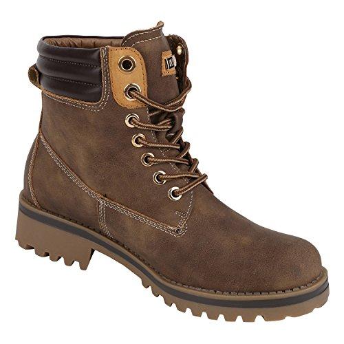 napoli-fashion Damen Herren Schuhe Kinder Schuhe Stiefeletten Worker Boots Outdoorschuhe Schnürstiefel VanHill Braun