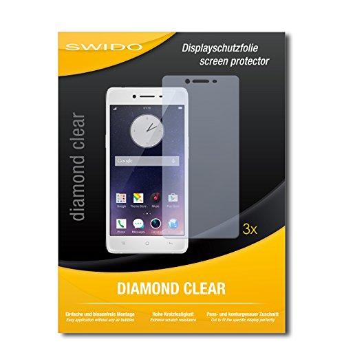 SWIDO 3 x Schutzfolie Oppo R7 Bildschirmschutz Folie DiamondClear unsichtbar