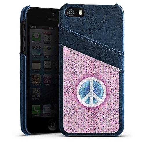 Apple iPhone 5s Housse Étui Protection Coque Peace Hippie paix couleurs Étui en cuir bleu marine