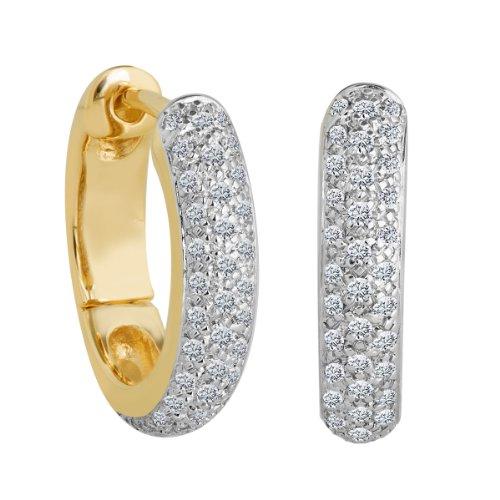 Bella Donna - Orecchini a cerchio da donna con diamante (0,4 ct), oro giallo 8k (333), cod. 109547