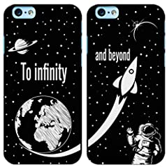 Idea Regalo - troppo figo Coppia Cover To Infinity And Beyond Custodia in Gomma Nera Morbida Idea Regalo San Valentino (1-iPhone 7/8, 2-iPhone 7/8)