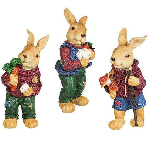 Ostern Dekoration 3er Set Hasen Figuren Osterhase Gartenfigur Hase Gartendekoration Dekoration Rabbit