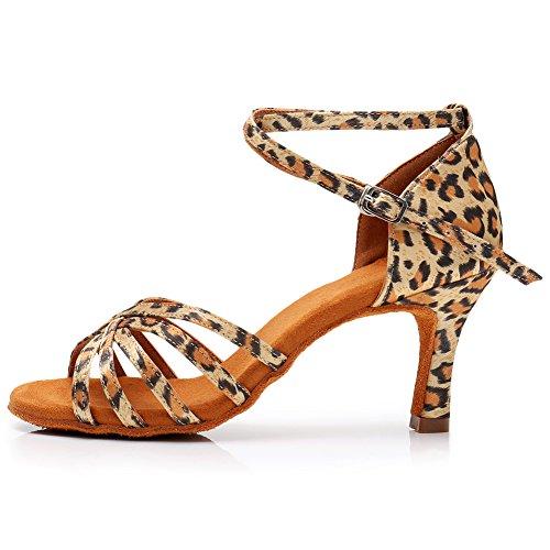 SWDZM Mujer Zapatos de Baile,estándar de Zapatos de Baile Latino,Satén,Ballroom modelo-WH1213 Leopardo 38 EU/24.5CM